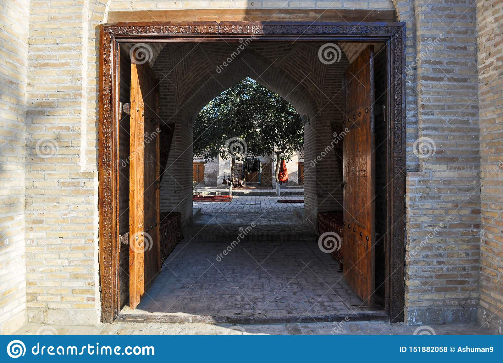 Entrance to the courtyard of the old building of Bukhara.