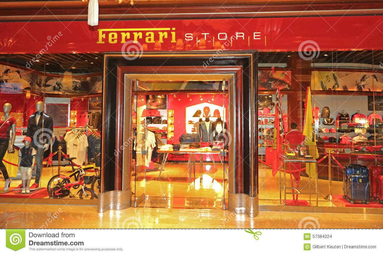 entrance to a ferrari store editorial stock image - image: 57384224