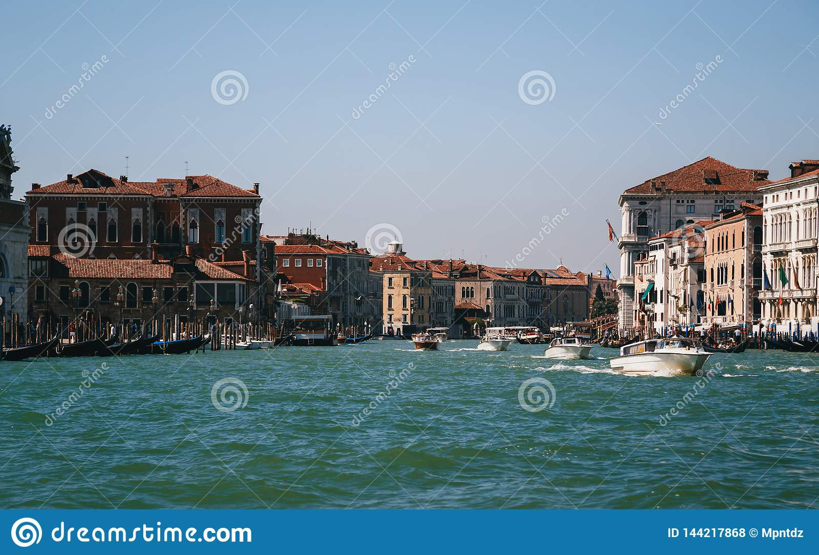 The entrance to the Grand Canal in Venice, view from the boat. Italy, summer time, travel concept