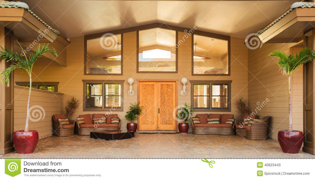 entrance to luxury home stock photo