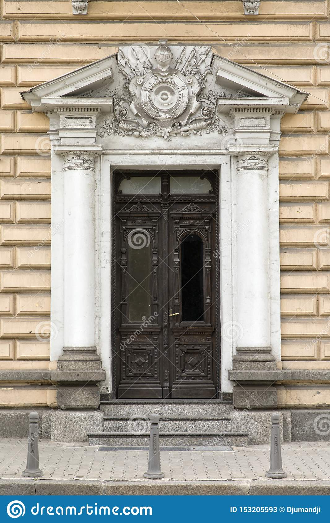 Entrance to the Military Club Building in downtown Sofia, Bulgaria