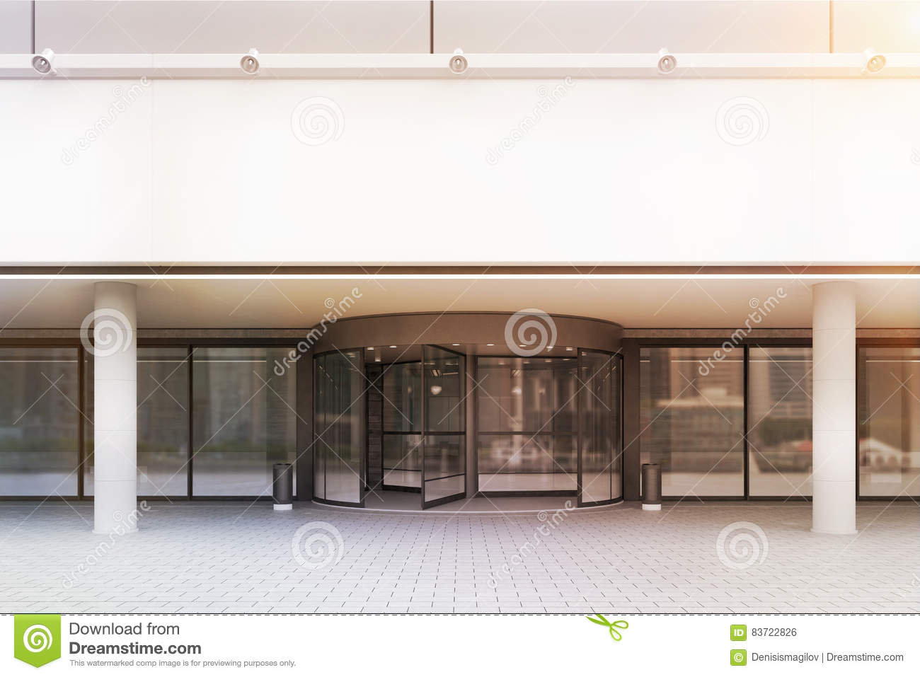 Entrance To Office Building, Front View, Toned Stock Illustration