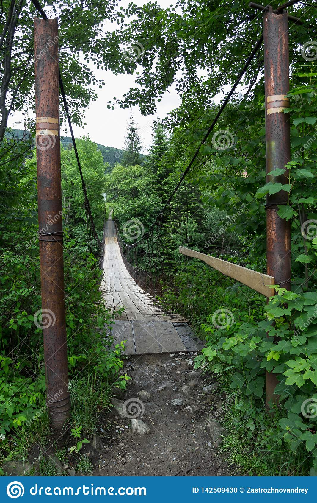 Entrance to the old suspension bridge over the river in the forest