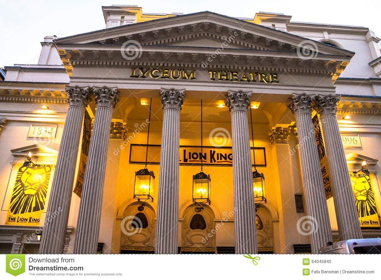 entrance to the popular london u0026 39 s lyceum theatre with lion