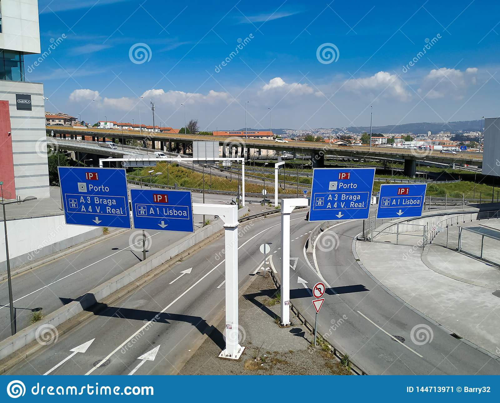 Entrance to principal IP1 motorway in Portugal, which connects Algarve to the North