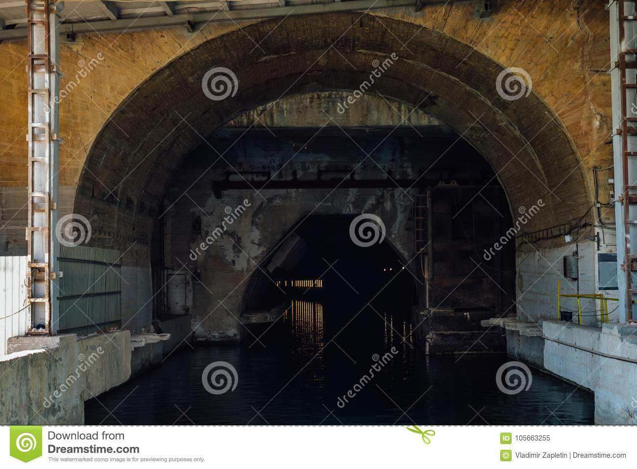 Entrance to tunnel dock for submarines. Underground submarine repairing factory in Balaklava, Crimea