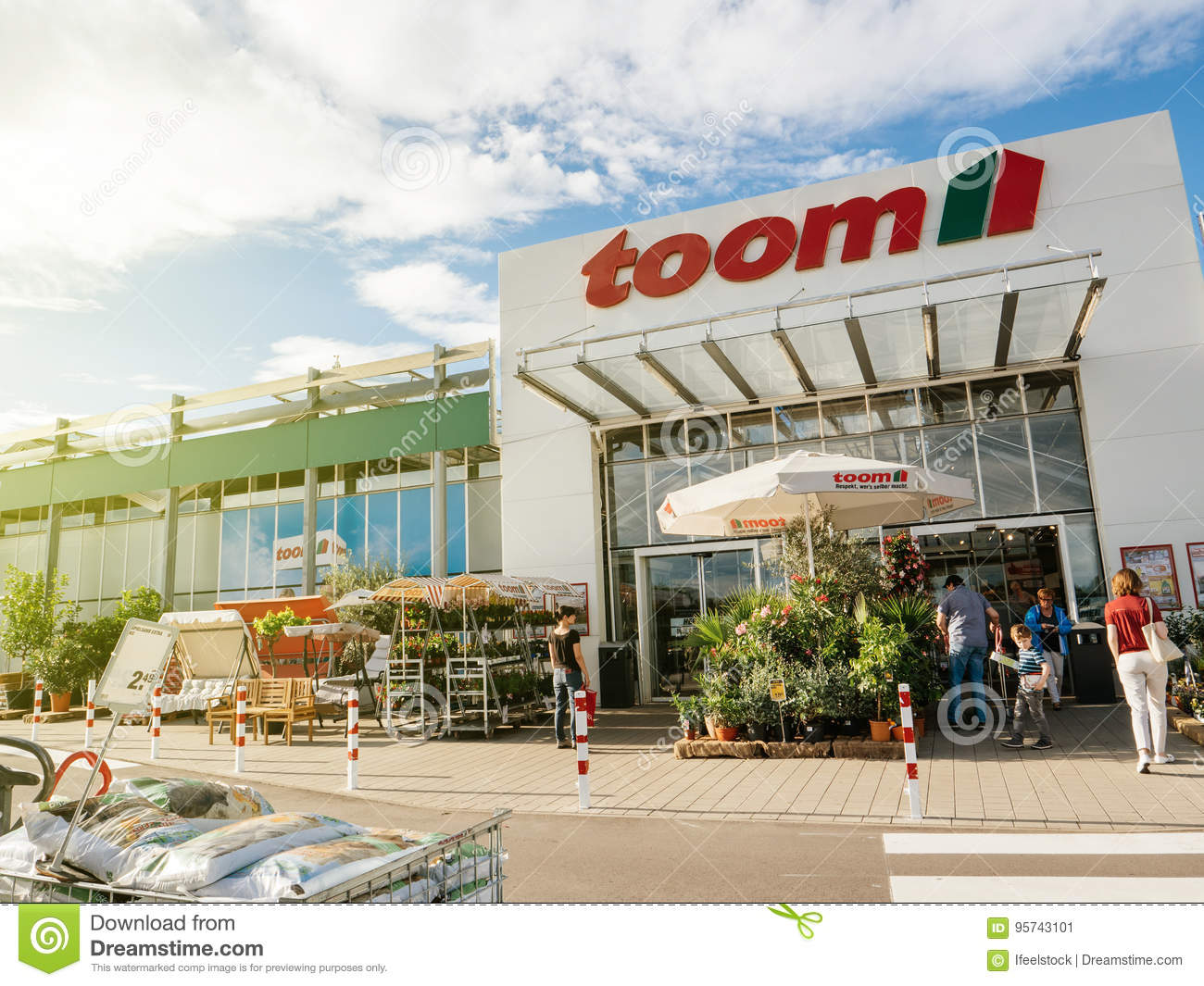 entrance of toom the german diy-store chain people editorial photo