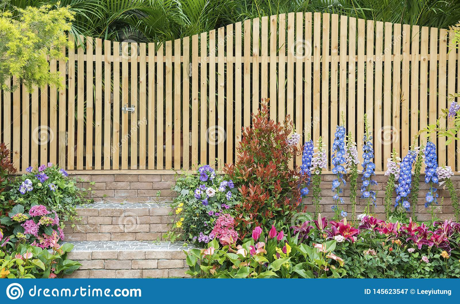 Wooden Fence Of Backyrad Flower Garden Stock Image Image Of Bush