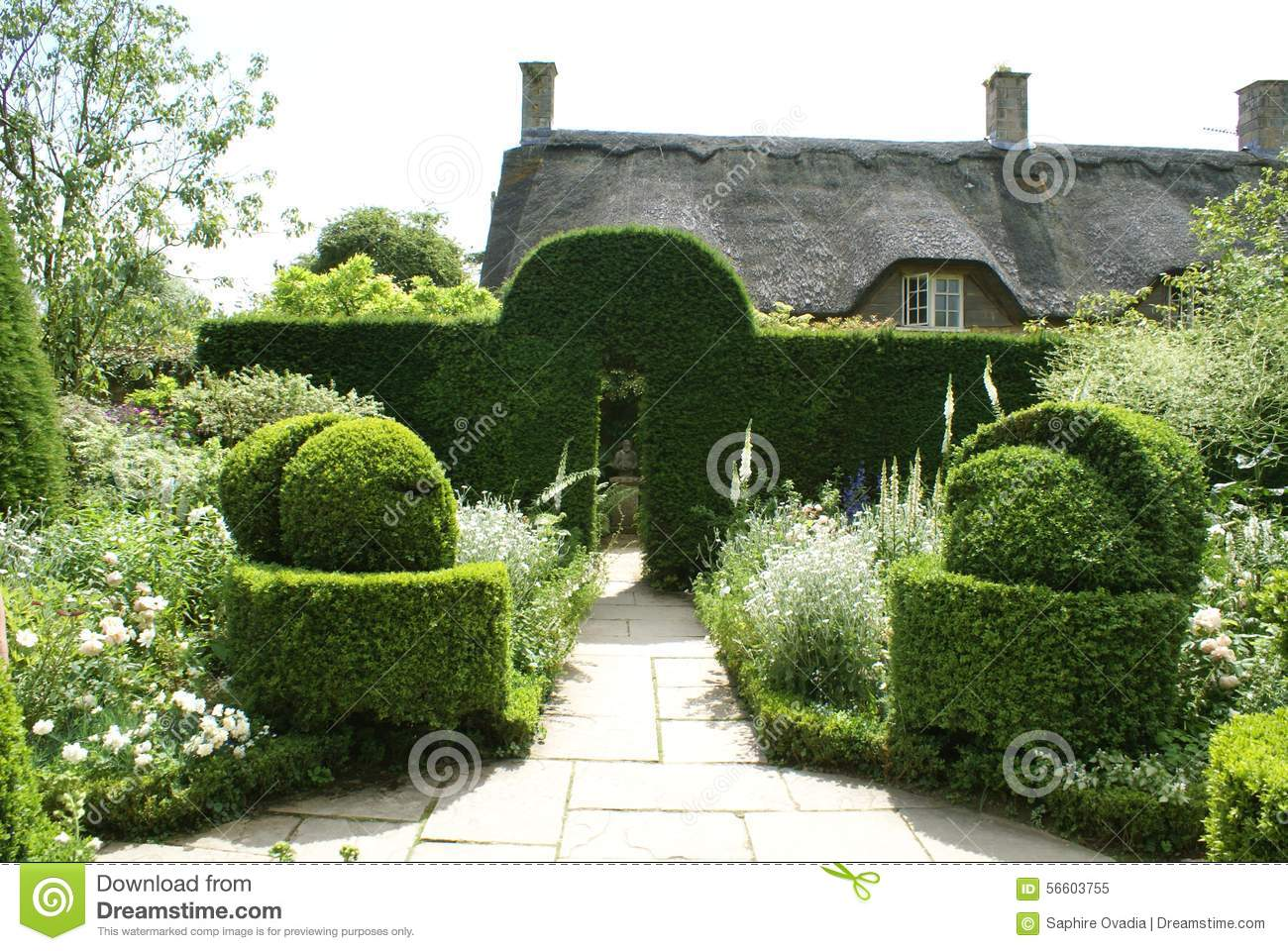 Entrance Of A Yew Topiary Formal Garden In England Stock Image Image Of Window Dormer 56603755