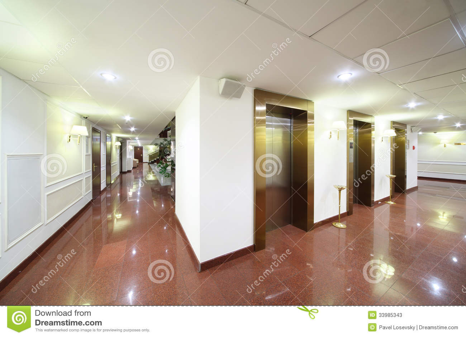 Download Entrances To Elevators And Marble Floor Stock Illustration - Illustration of design, architecture: 33985343