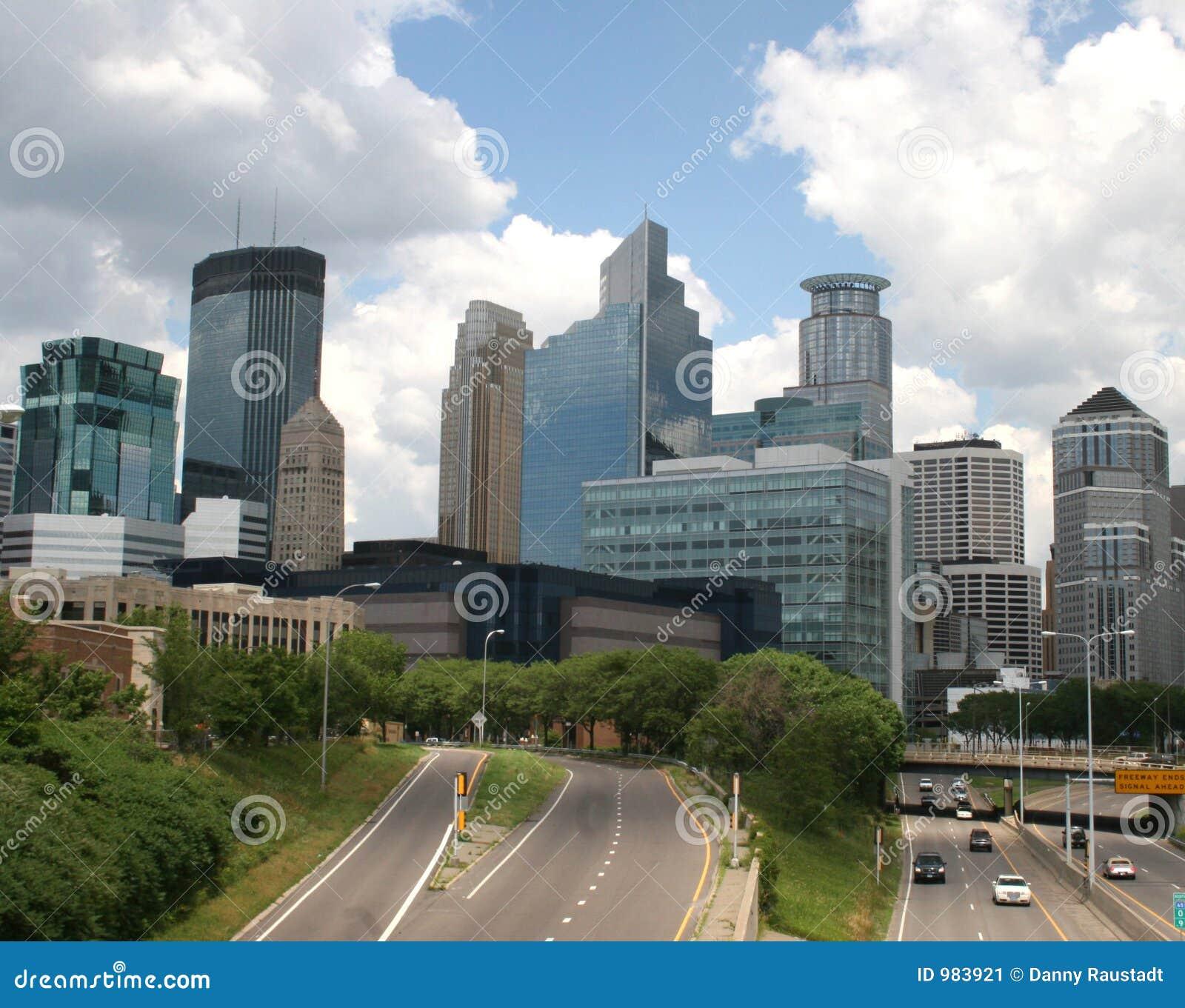 Entrata dell autostrada senza pedaggio alla città di Minneapolis, Minnesota