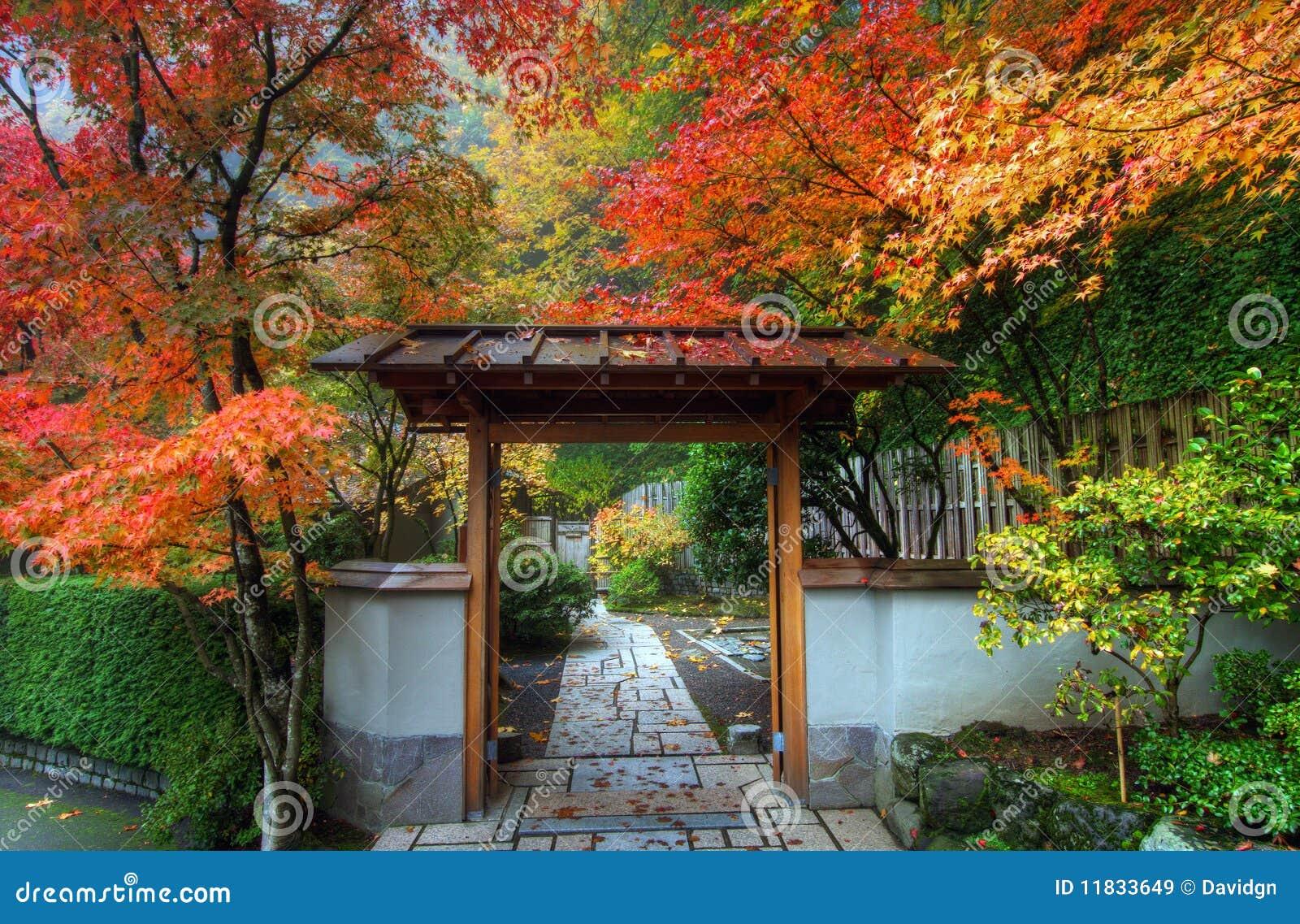 Entr e dans le jardin japonais images libres de droits for Dans le jardin