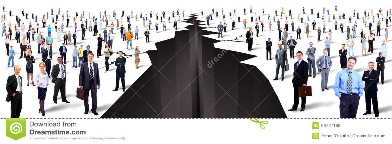 Entre dois grandes grupos de pessoas