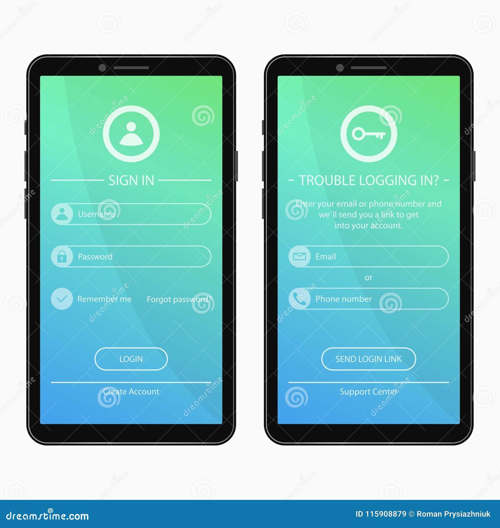 Entre a página e esqueceu o projeto do formulário da senha para o app móvel Molde da interface de utilizador para aplicações do s