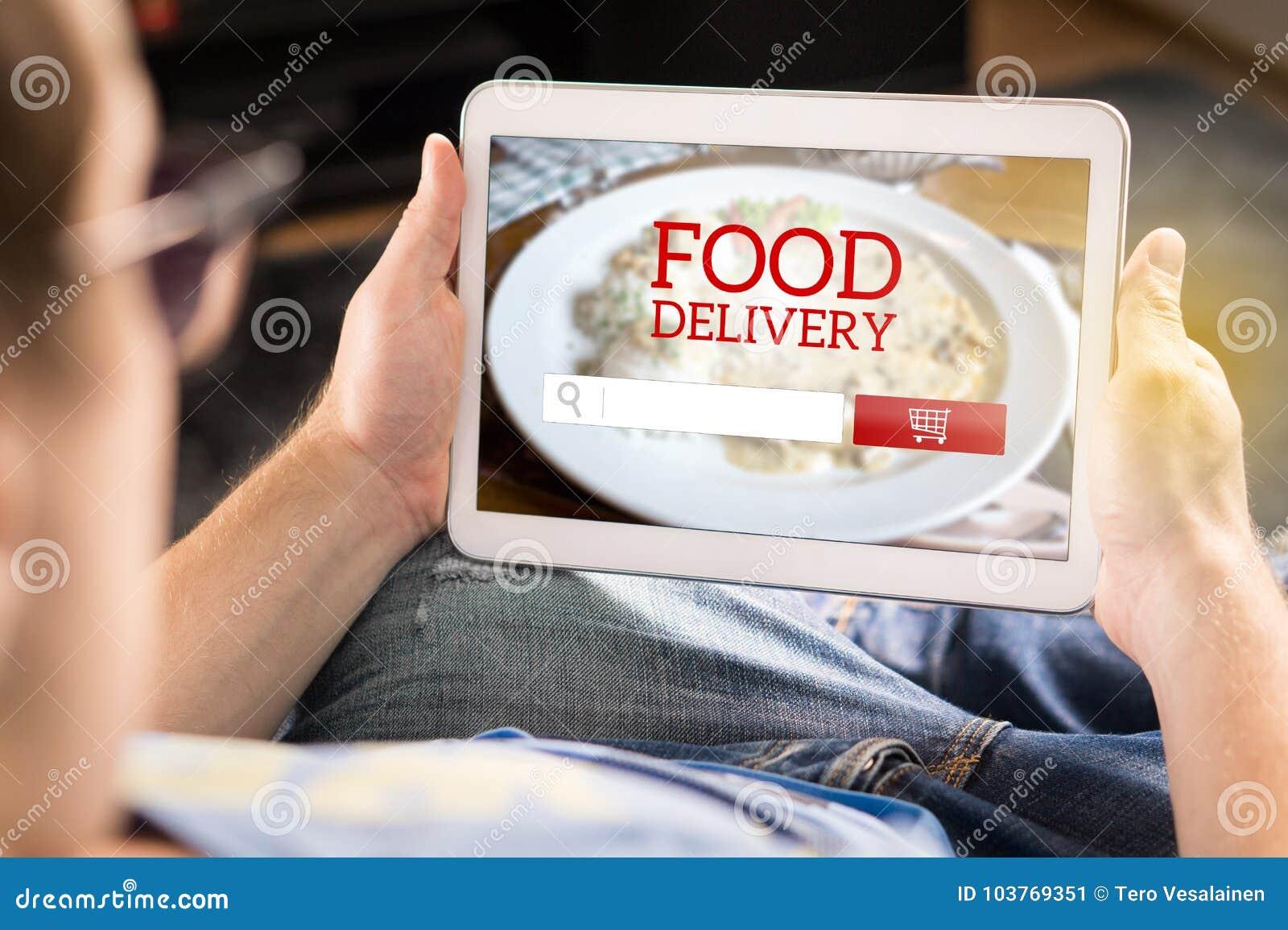 Entrega app do alimento na tabuleta