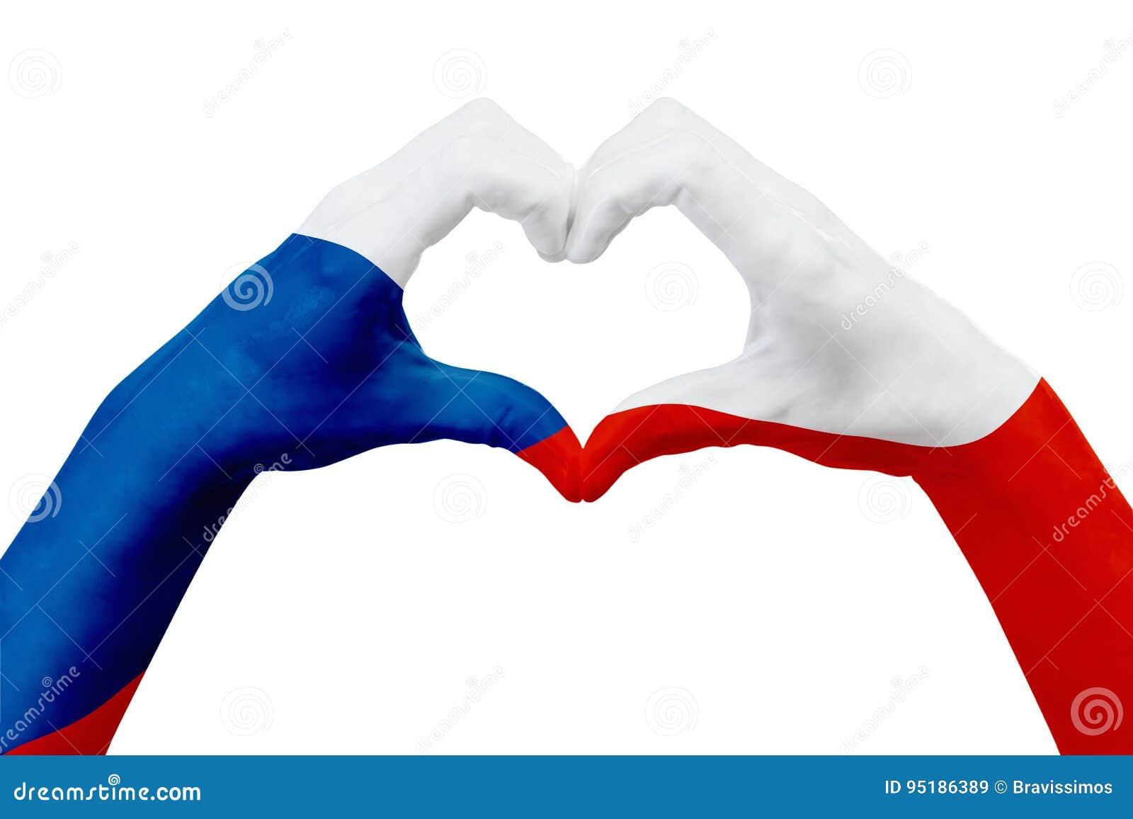 Entrega a bandeira da república checa, dão forma a um coração Conceito do símbolo do país, isolado no branco