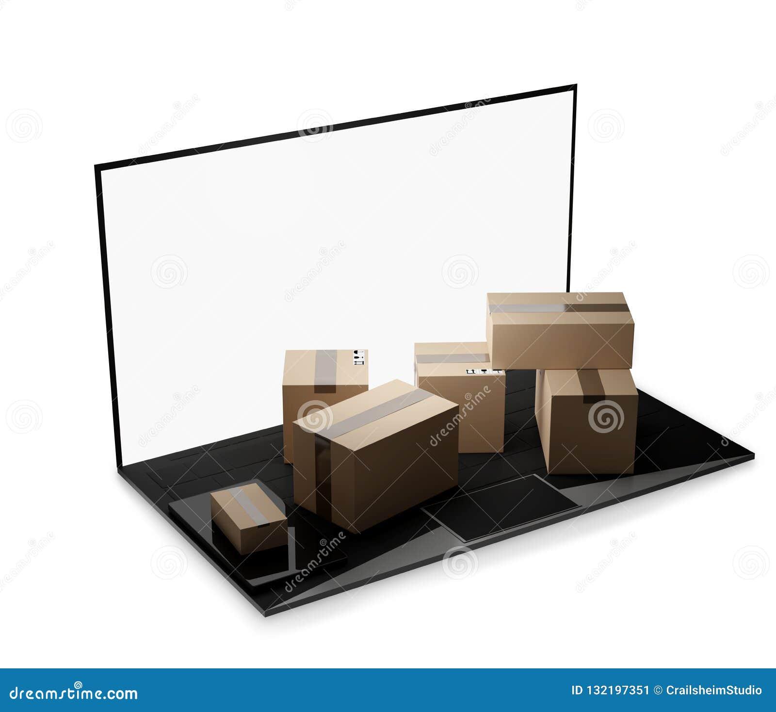 Entrega 3d-illustration de los paquetes del ordenador portátil del cuaderno del ordenador