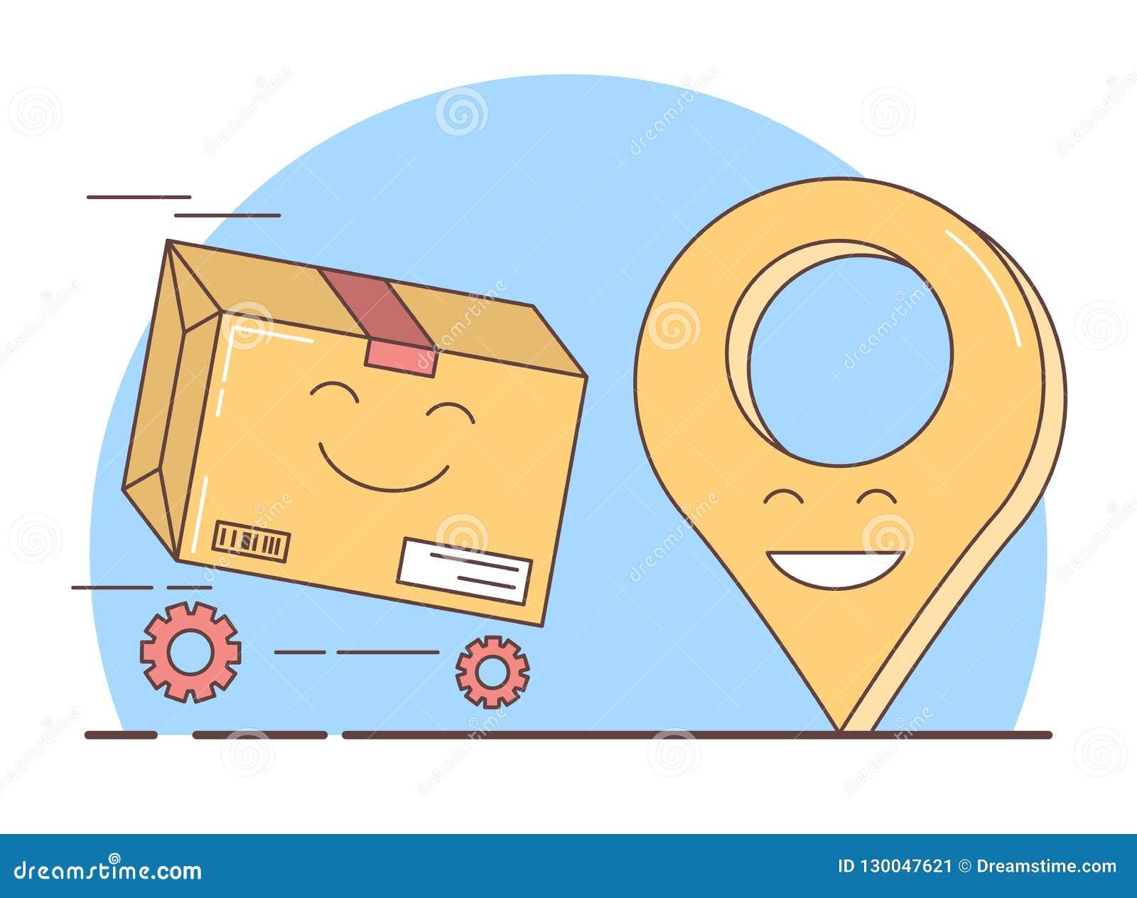 Entrega del regalo, caja llena y símbolo del geolocation