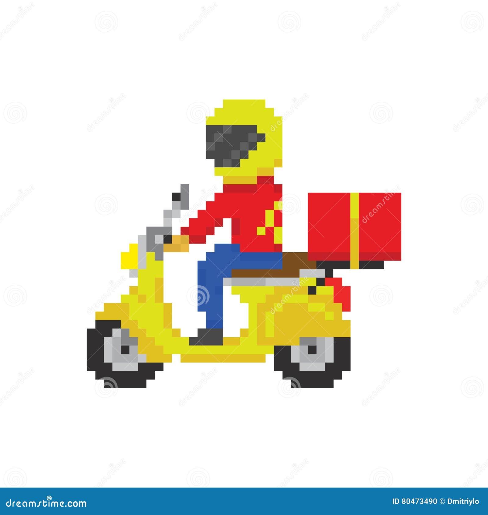 Entrega rápida de la moto de la vespa en estilo del juego del arte del pixel