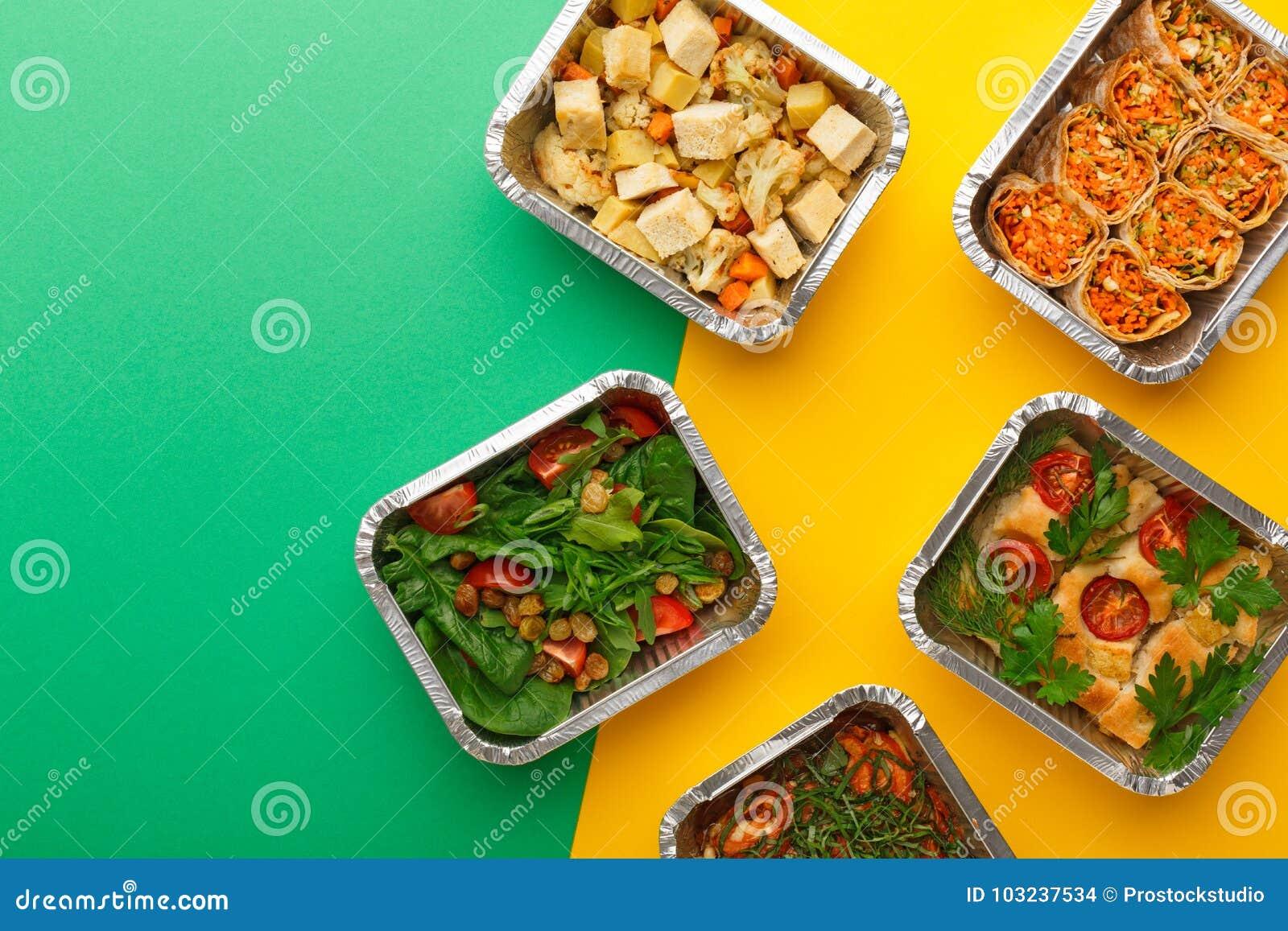 Entrega sana de las comidas Comiendo concepto correcto, copie el espacio, visión superior