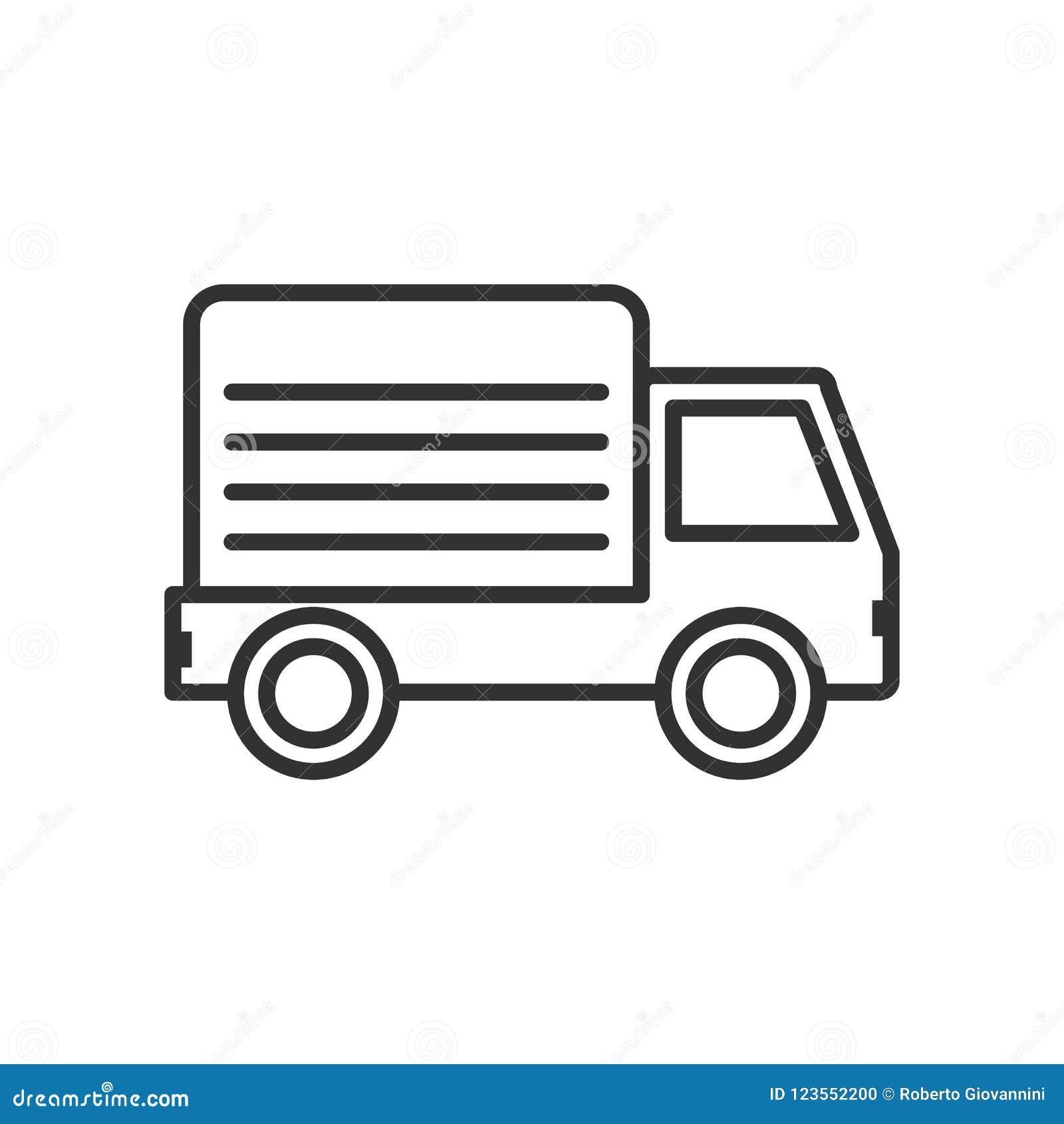 Entrega Van Outline Flat Icon no branco