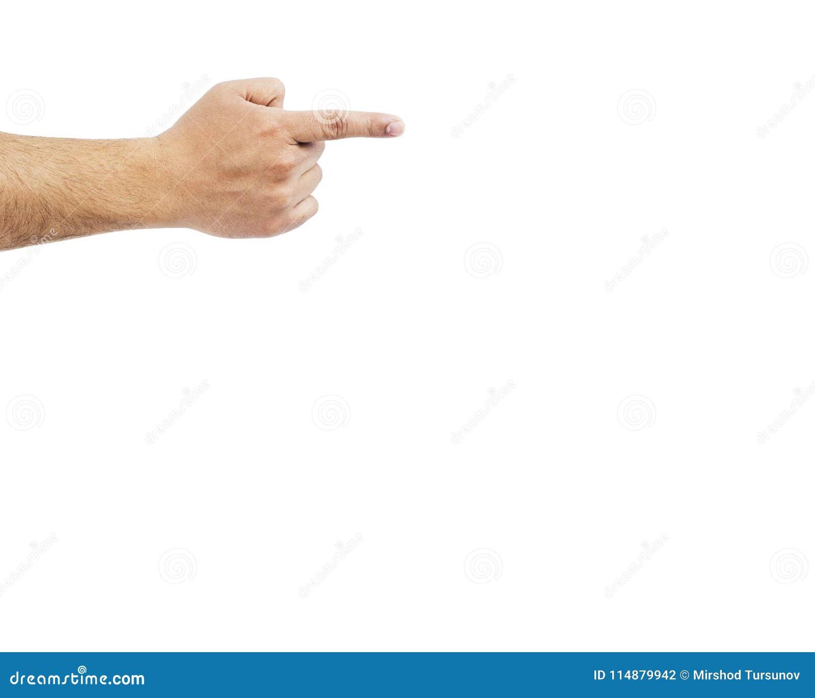 Entregue apontar o dedo, isolado no fundo branco Conceito da culpa