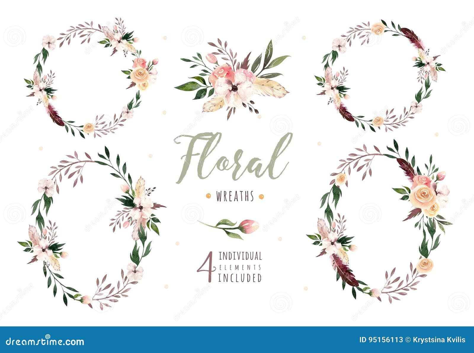 Entregue A Aquarela Isolada Desenho Do Boho A Ilustracao Floral