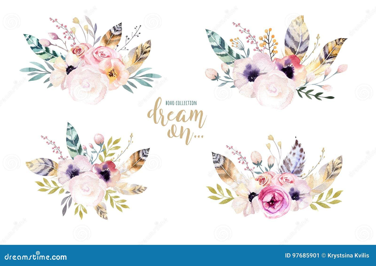 Entregue A Aquarela Isolada Desenho A Ilustracao Floral Com Folhas
