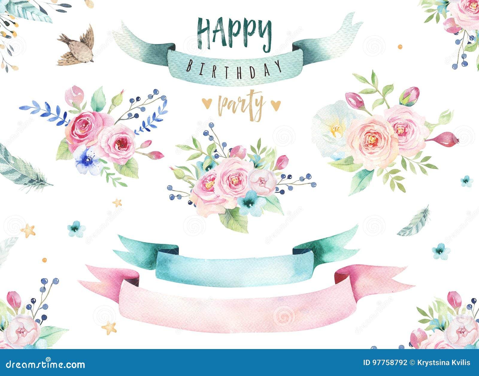 Entregue a aquarela isolada desenho a ilustração floral com folhas, ramos, flores e penas arte do Watercolour do índigo