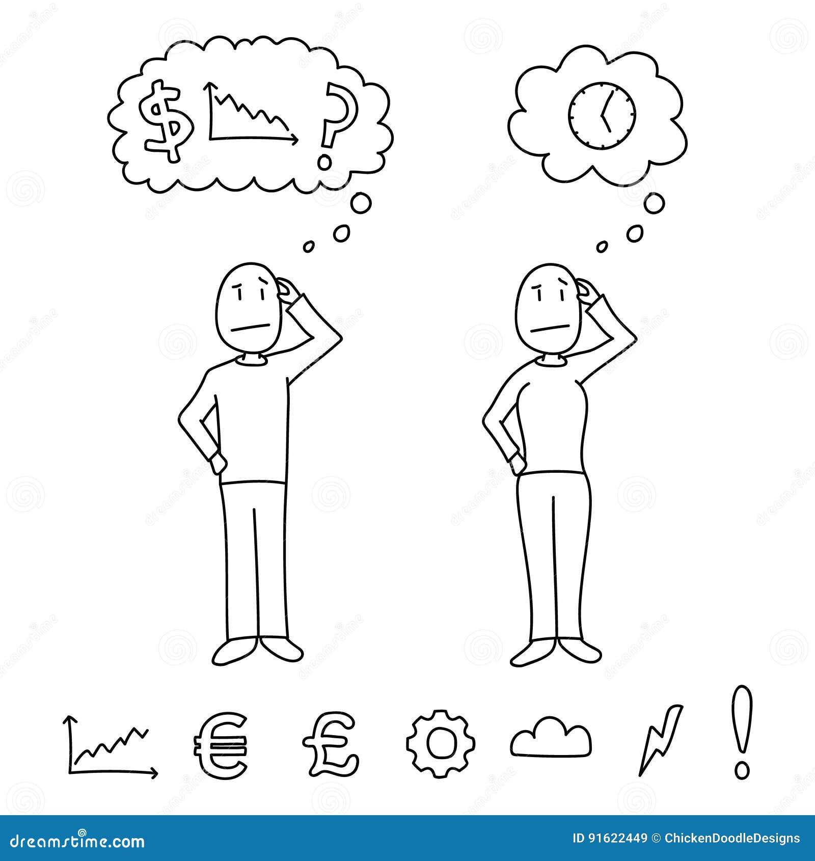 Entregue as figuras tiradas do estilo que riscam as cabeças que mostram conceitos da confusão dentro das nuvens do pensamento