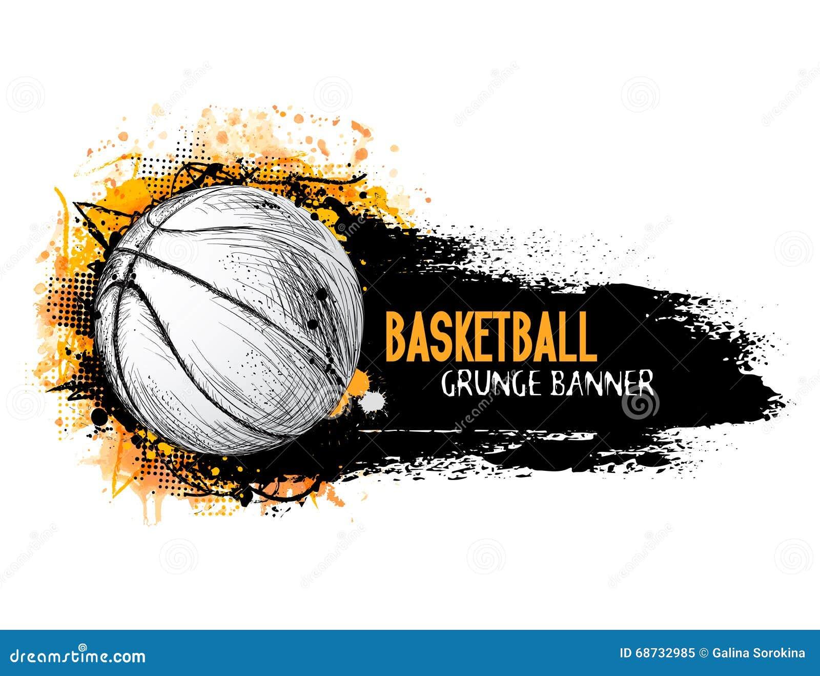 Entregue a bandeira tirada do grunge do vetor com bola do basquetebol
