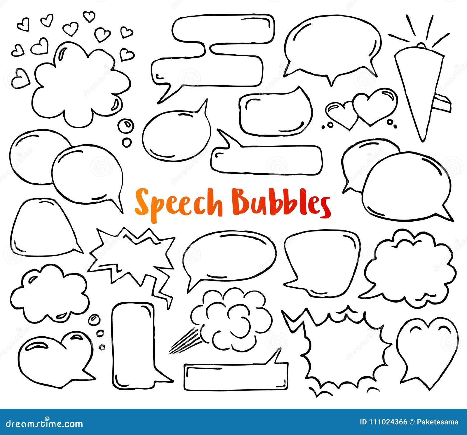 Entregue bolhas desenhadas do discurso