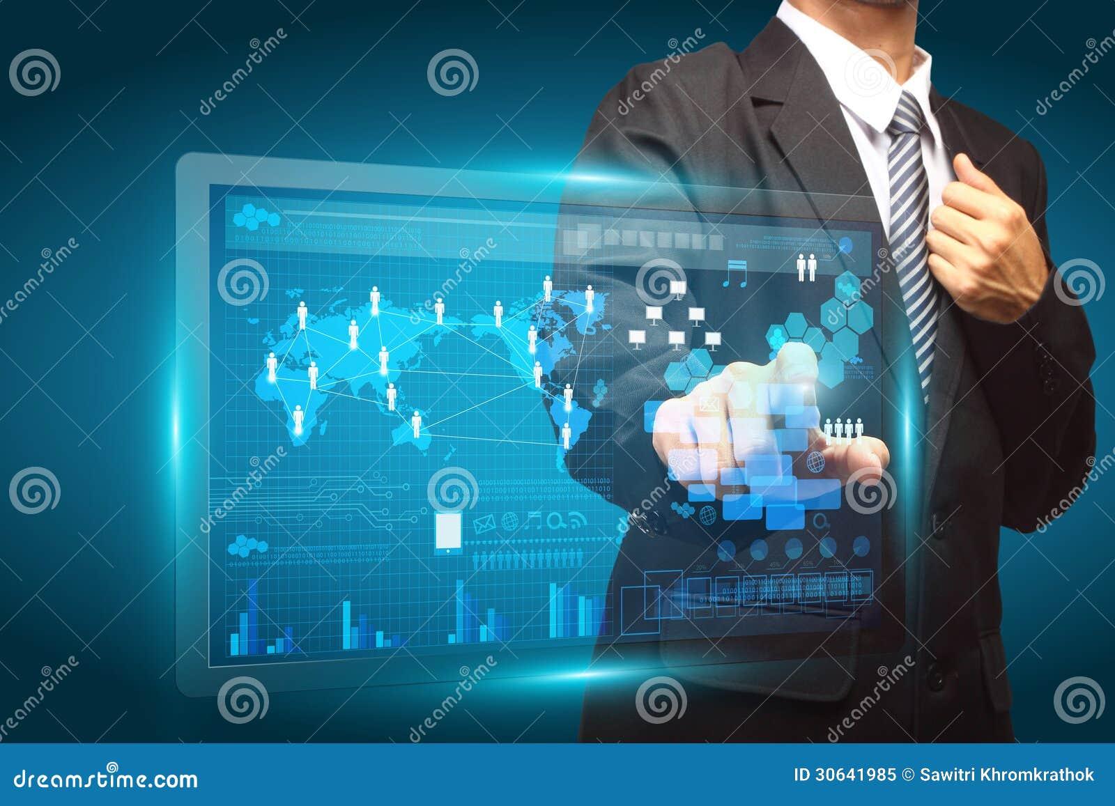 Entregue a empurrão de um botão em uma relação do ecrã táctil