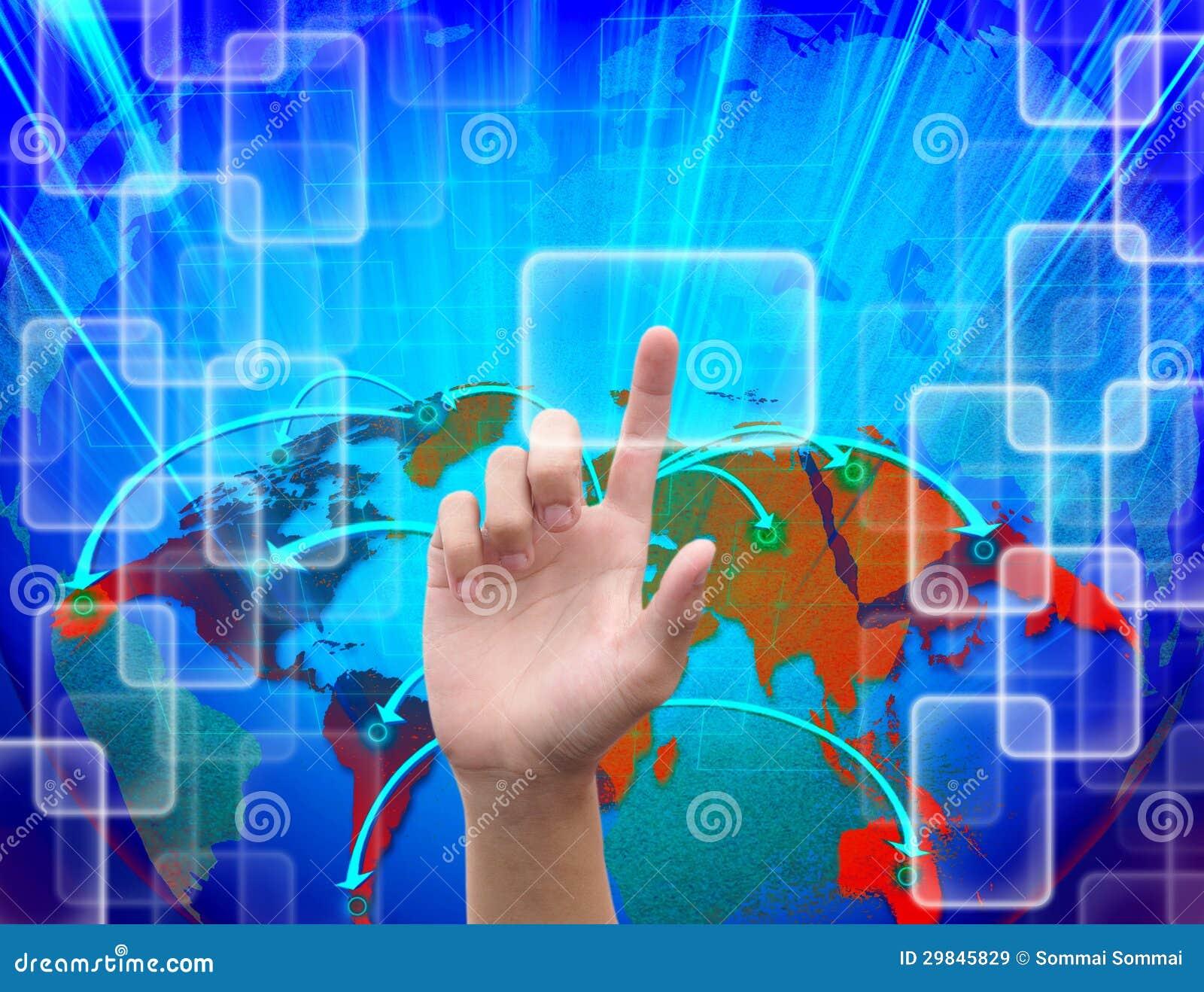 Empurrando o botão no sumário a tecnologia do mundo