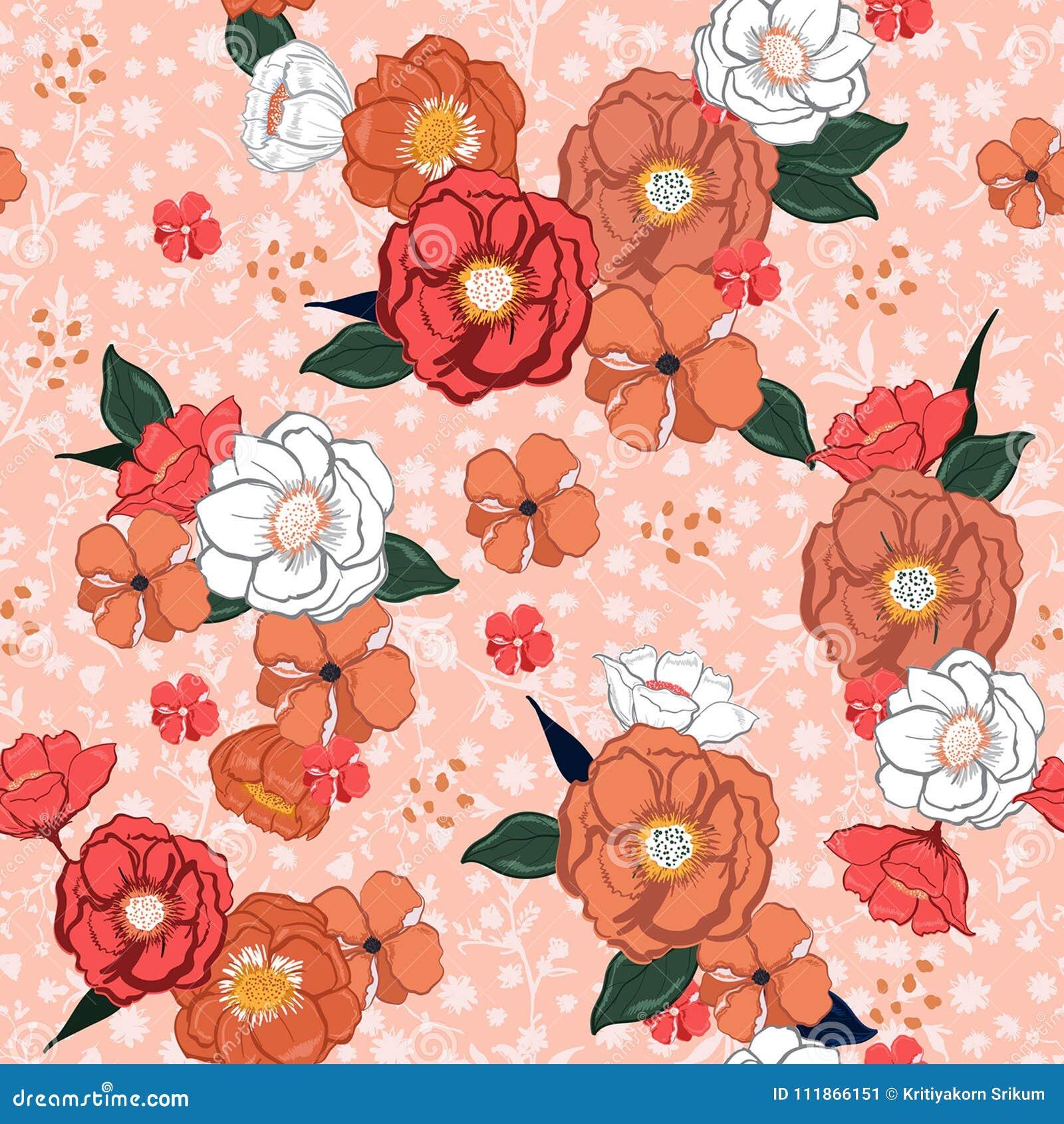 Entregue flores de florescência tiradas do verão colorido doce em floral cor-de-rosa