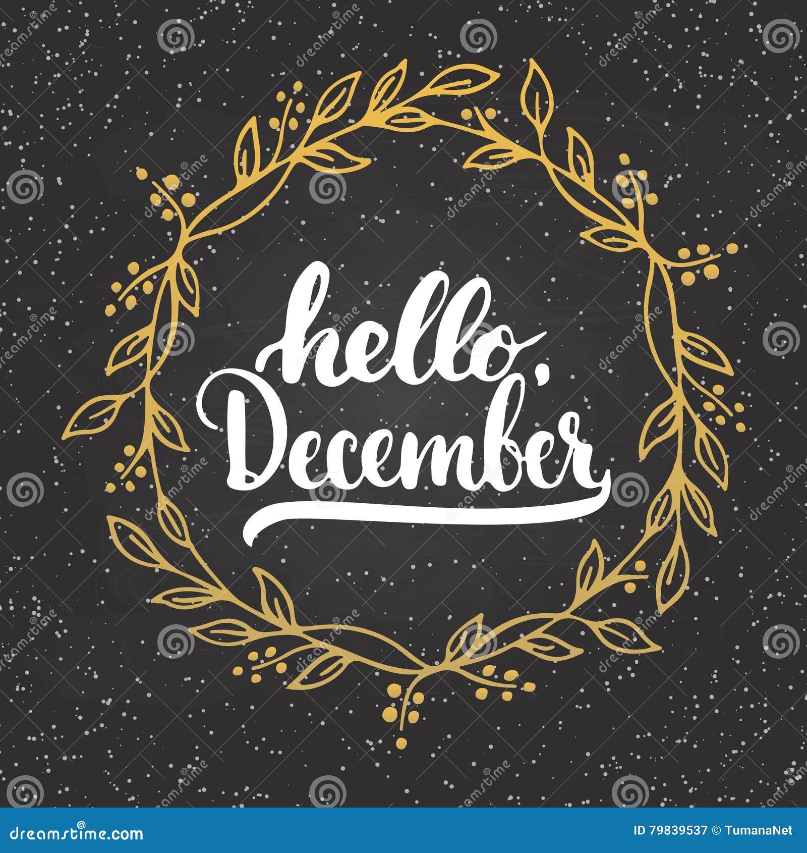 Entregue a frase tirada da rotulação da tipografia olá!, dezembro isolou-se no fundo do quadro com grinalda dourada