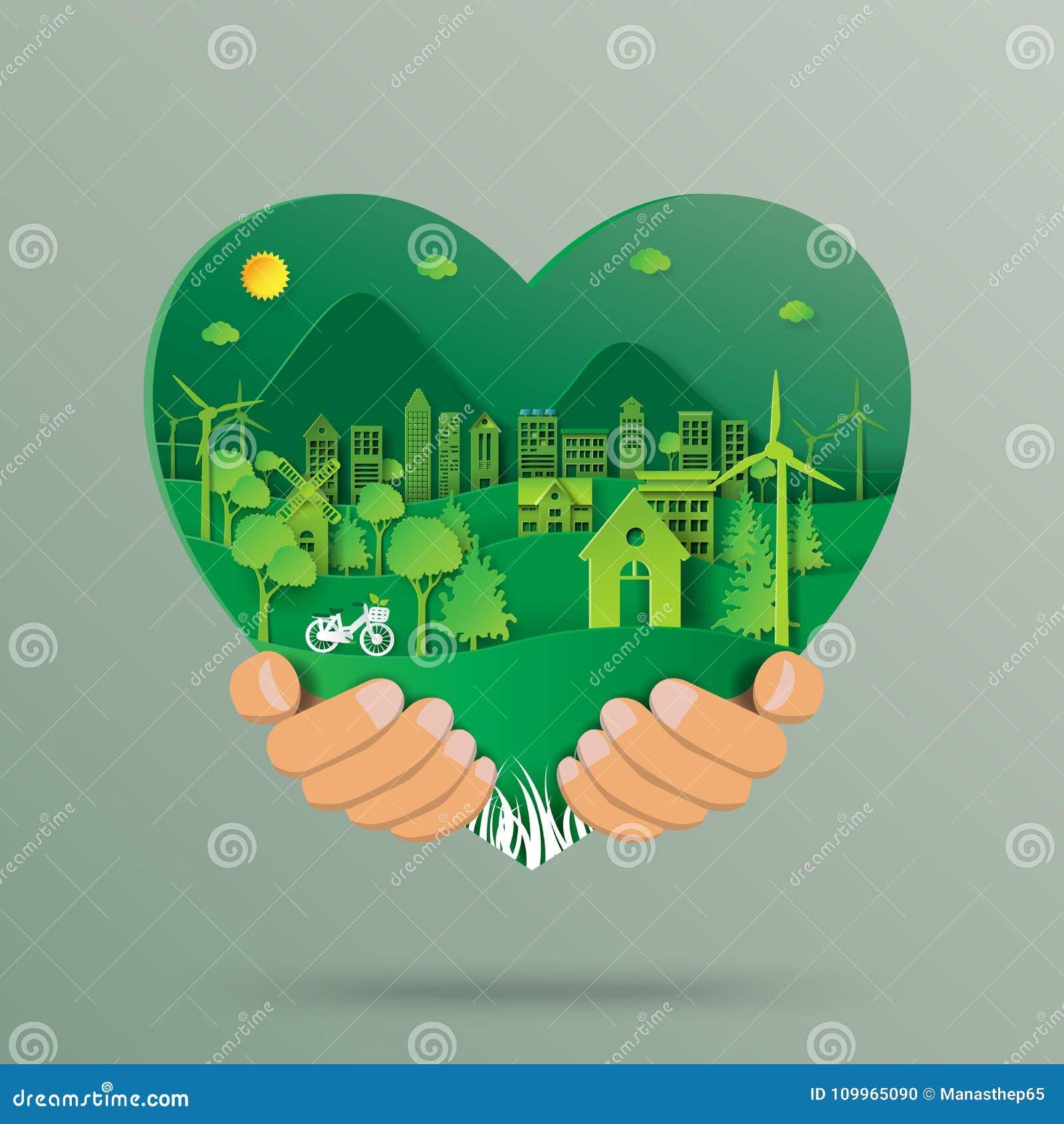 Entregue guardar a forma do coração com estilo da arte do papel do ambiente