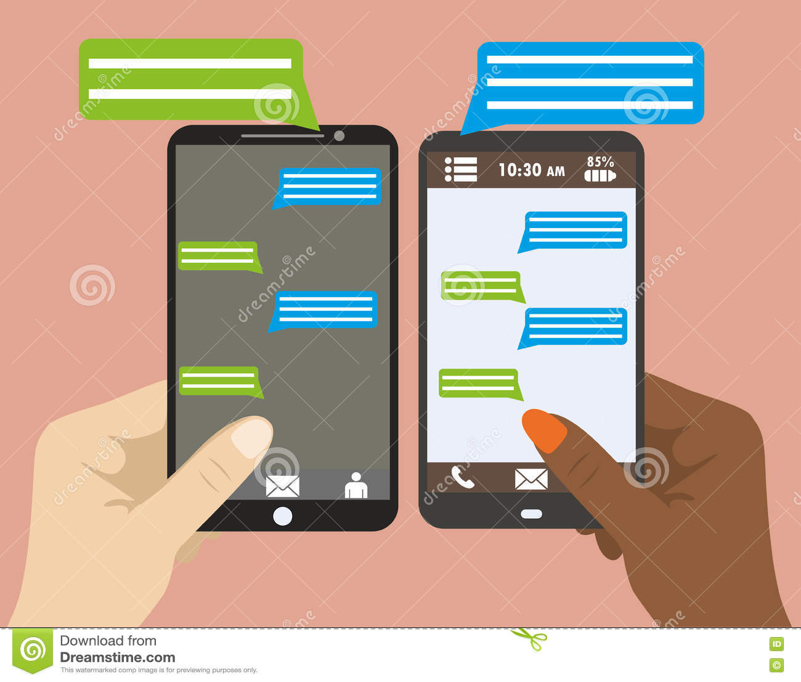 Entregue guardar o smartphone preto com bolhas vazias do discurso para o texto