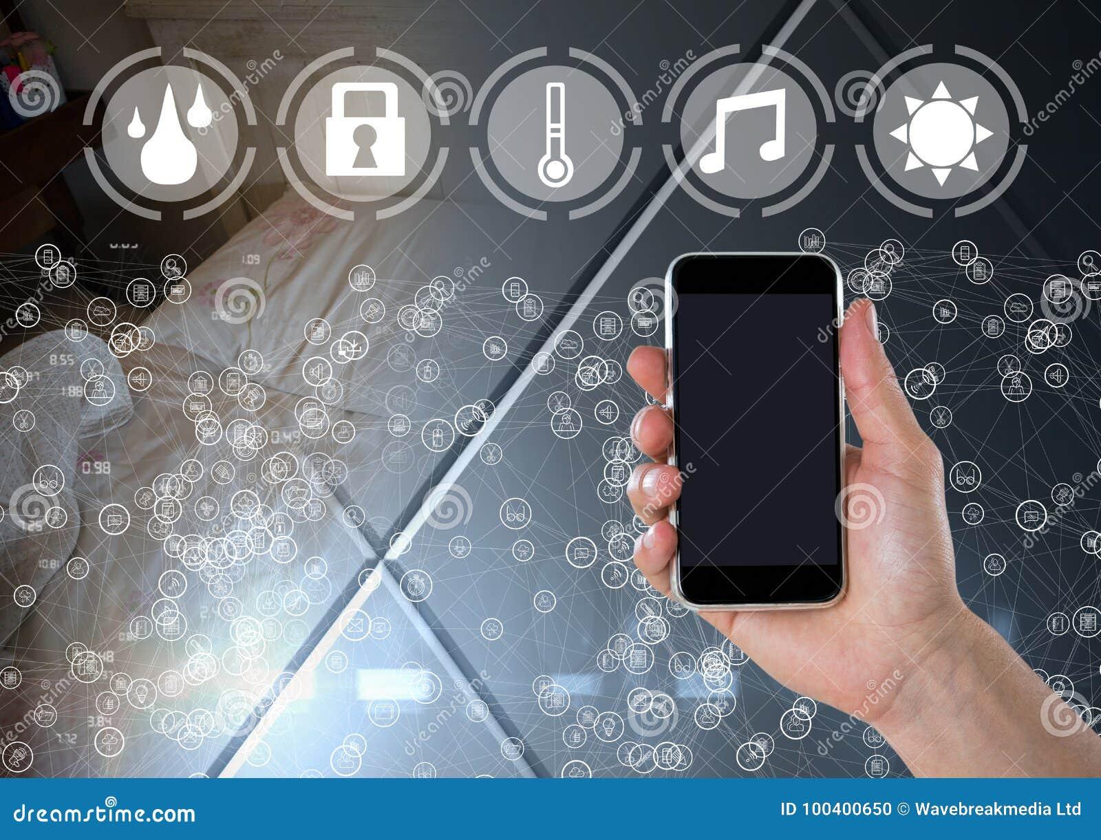 Entregue guardar o telefone com relação e os conectores home espertos