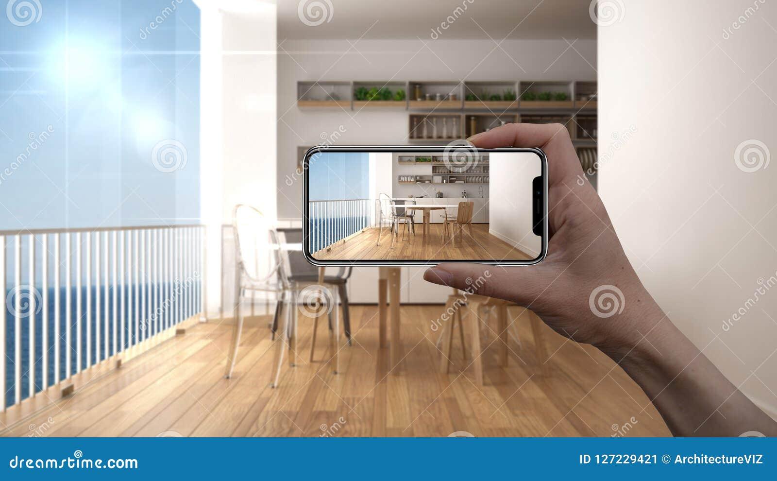 Entregue guardar o telefone esperto, aplicação da AR, simule a mobília e os produtos do design de interiores na casa real