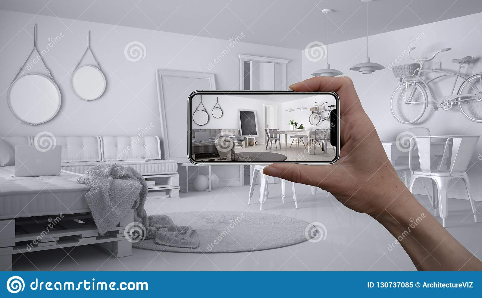 Entregue guardar o telefone esperto, aplicação da AR, simule a mobília e os produtos do design de interiores na casa real, concei
