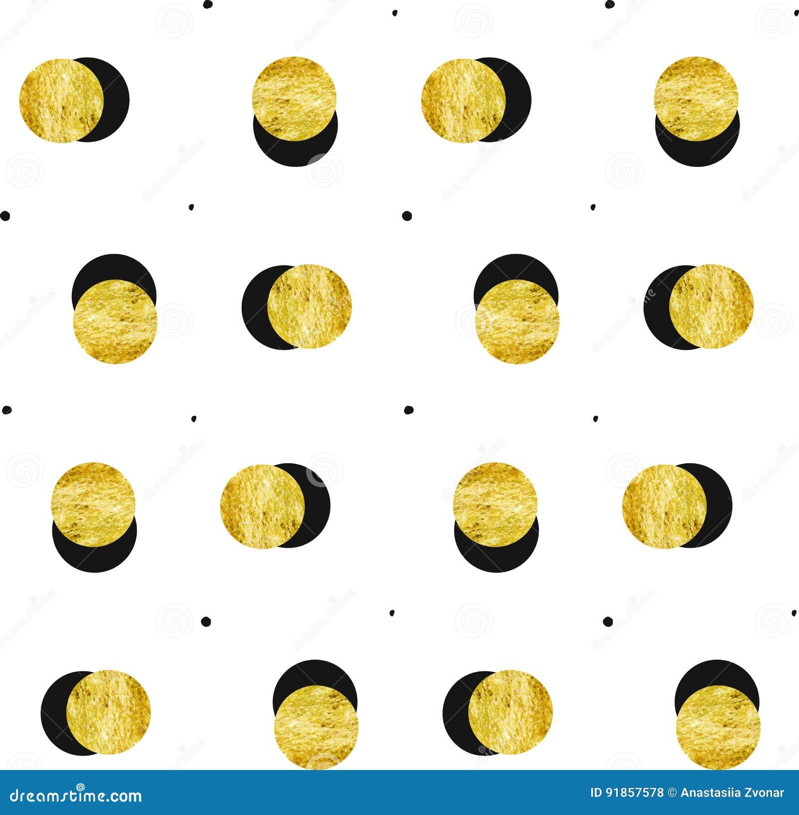 Entregue a Lua cheia tirada do ouro do sumário do vetor o teste padrão sem emenda e a textura preta dos às bolinhas isolados no f