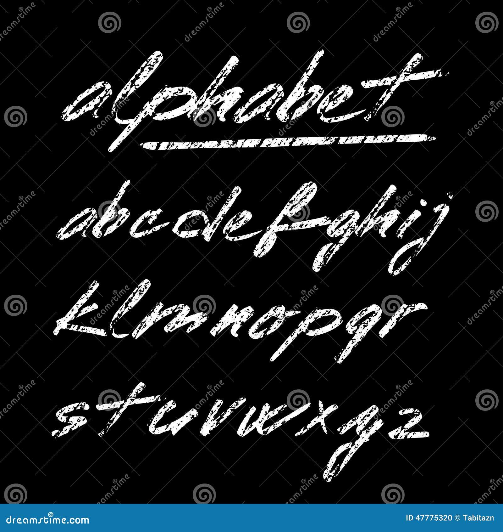 Entregue o alfabeto tirado do giz, fonte, letras isoladas