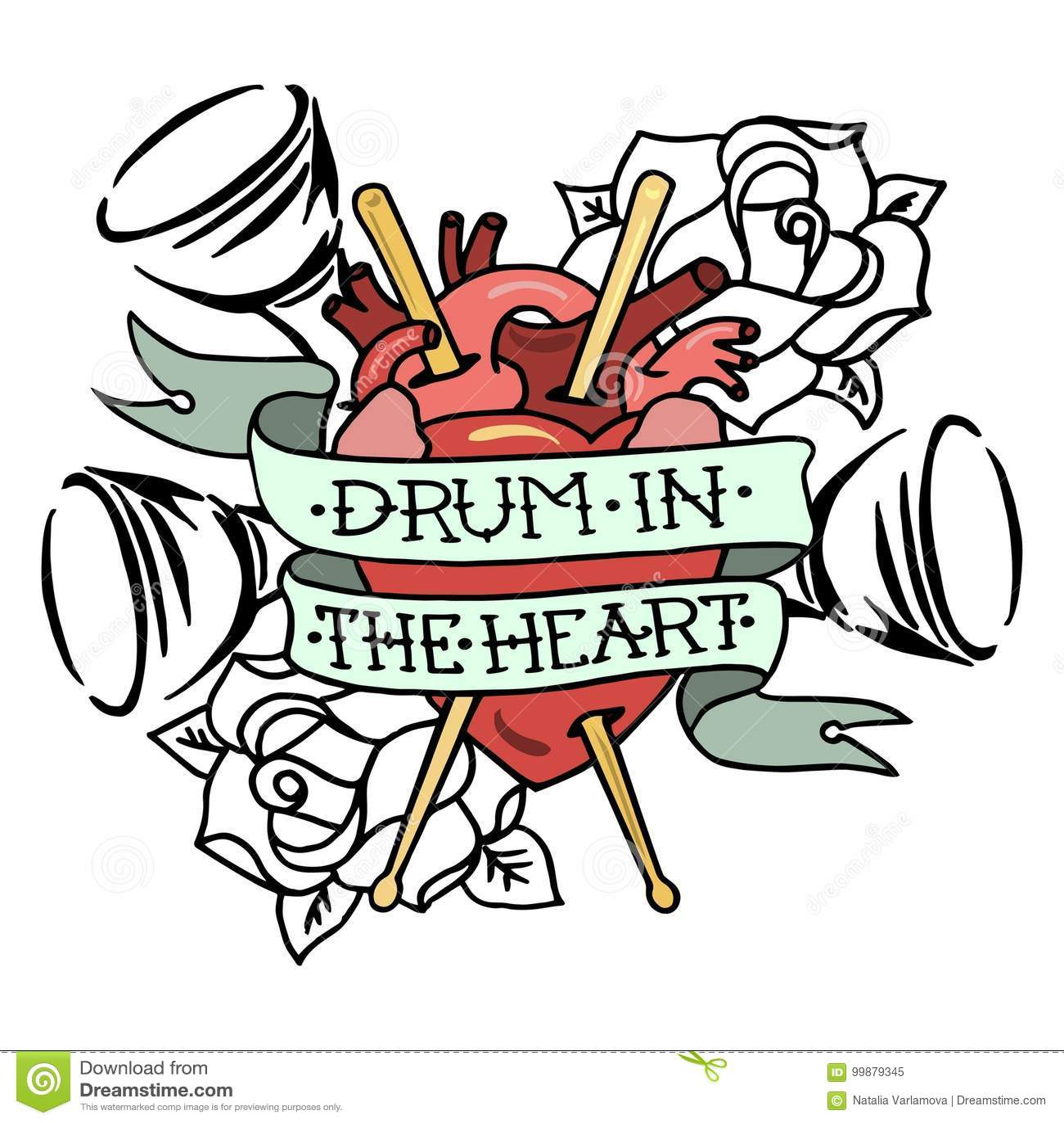 Entregue o cilindro tirado do ` da ilustração do vetor no ` do coração