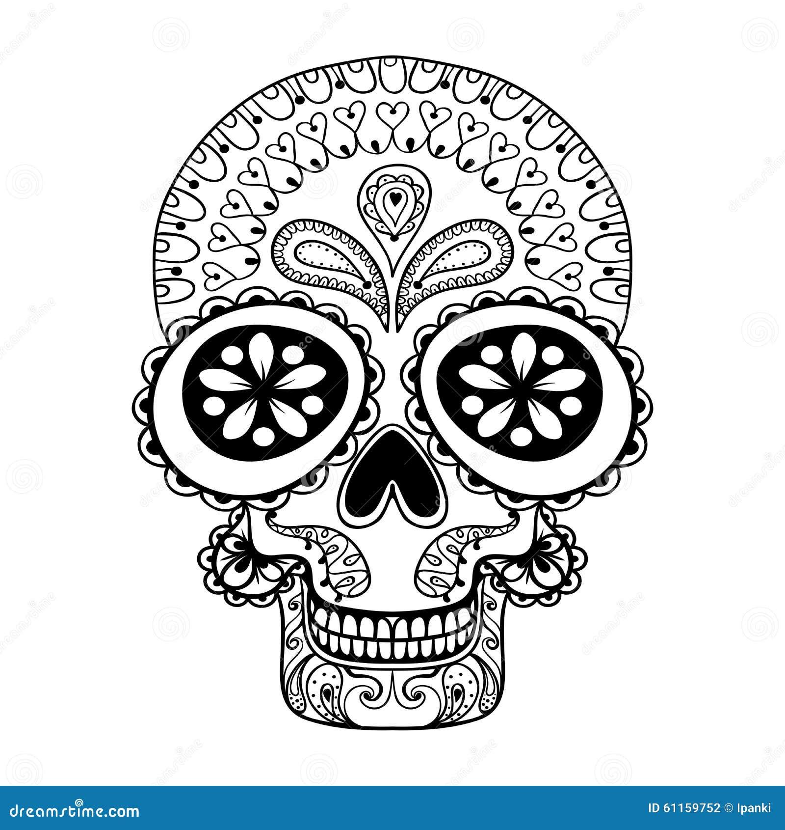 Entregue o crânio tirado no estilo do zentangle, totem tribal para a tatuagem, anúncio