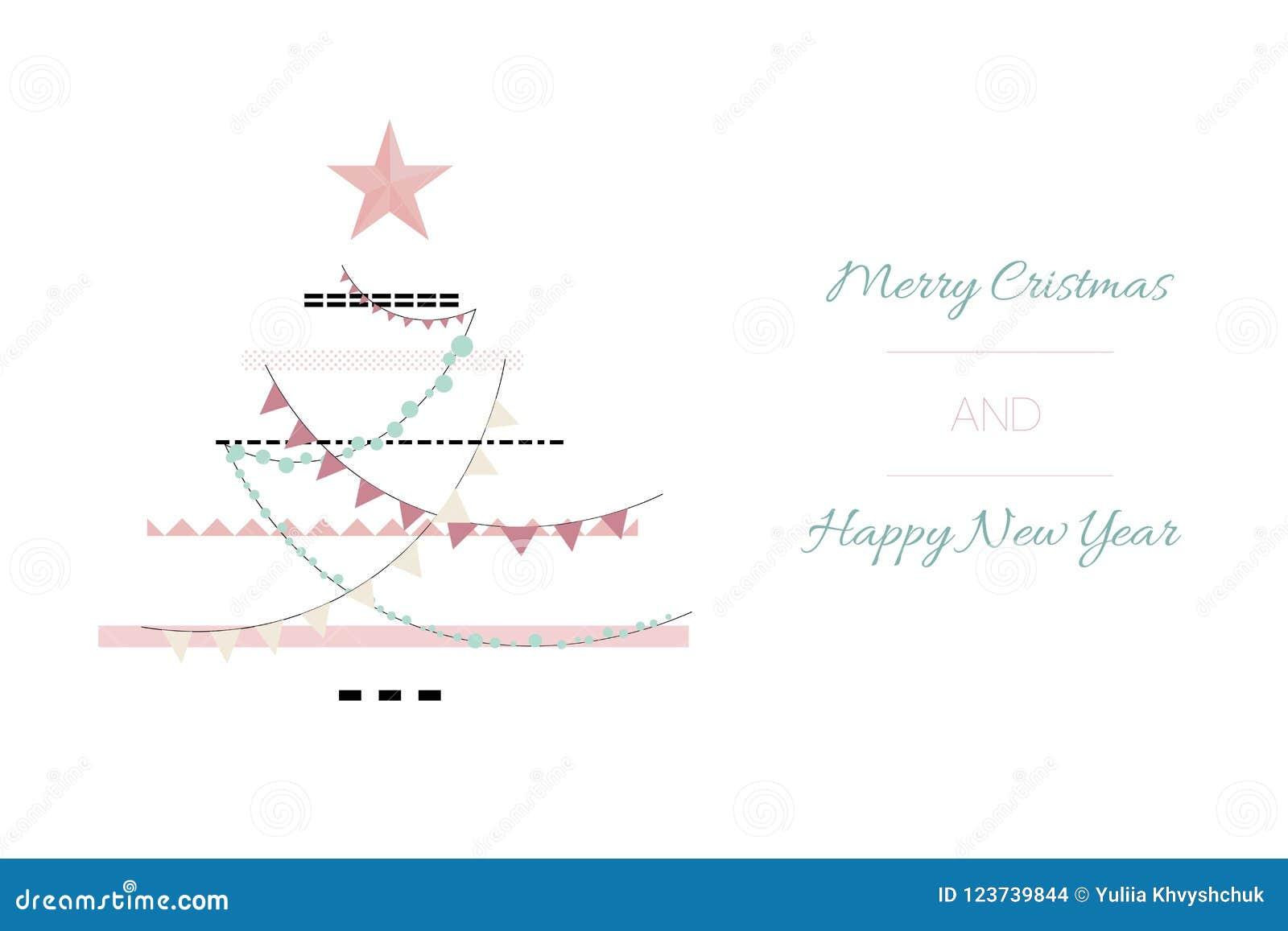 Entregue o Feliz Natal tirado do sumário do vetor e o molde novo feliz do cartão das ilustrações dos desenhos animados do vintage