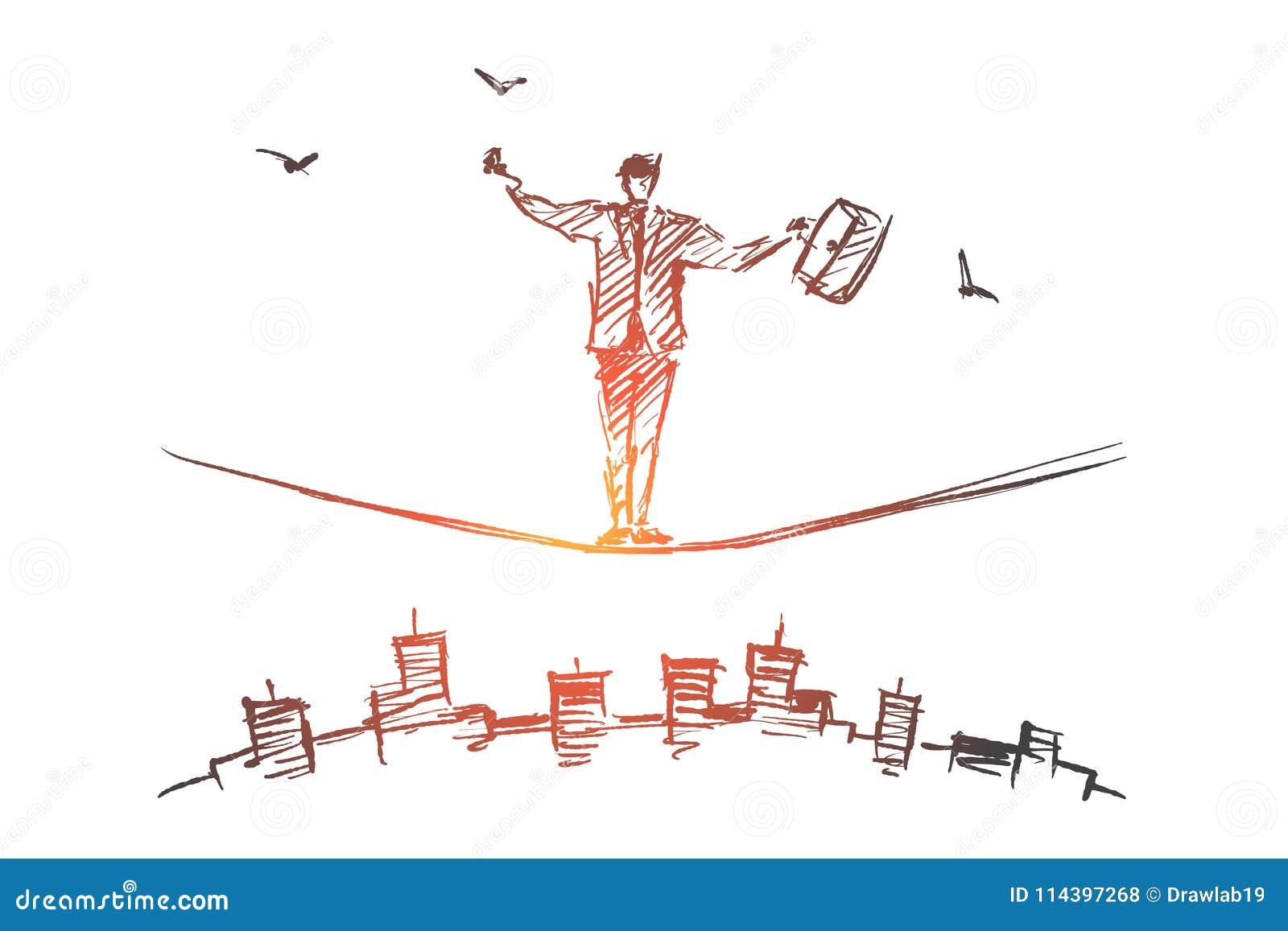 Entregue o homem de negócios tirado que equilibra na corda sobre a cidade