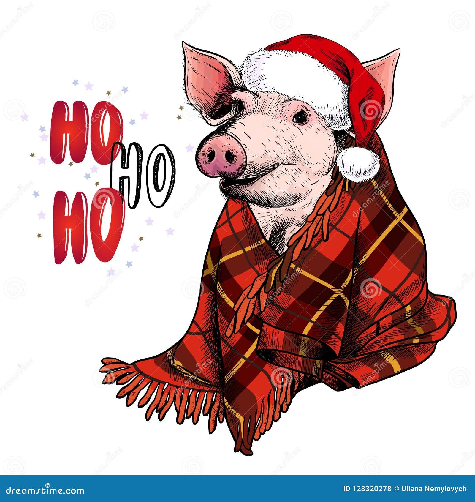 Entregue o retrato tirado de chifres e da cobertura vestindo dos cervos do porco Ilustração do Natal do vetor Leitão de Colore Xm