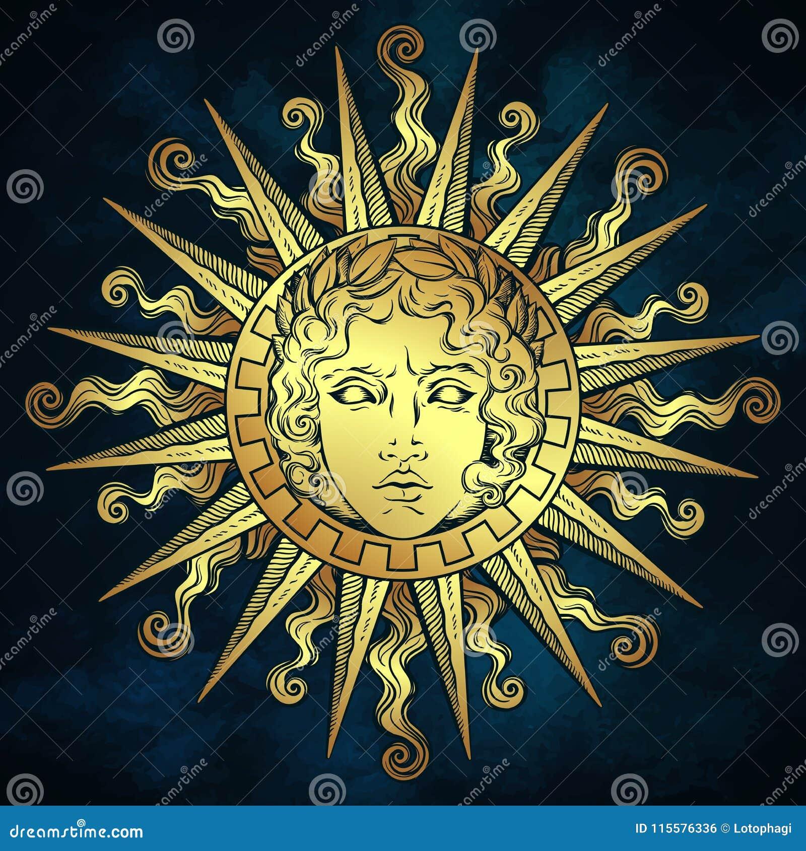 Entregue O Sol Antigo Tirado Do Estilo Com A Cara Do Deus