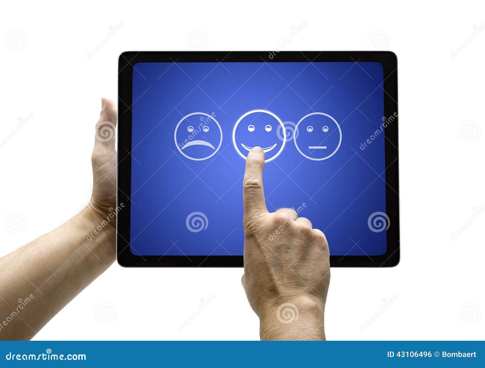 Entregue tela tocante com formulário de avaliação do serviço ao cliente na